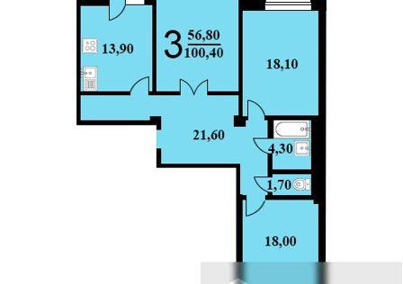 Продаётся 3-комнатная квартира, 100.4 м²