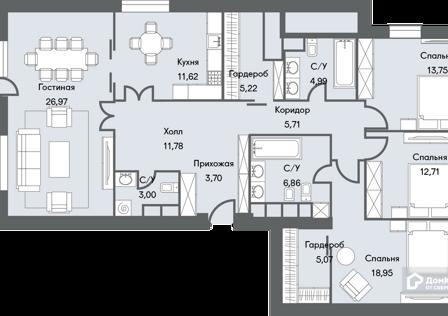 Продаётся 3-комнатная квартира, 134.5 м²