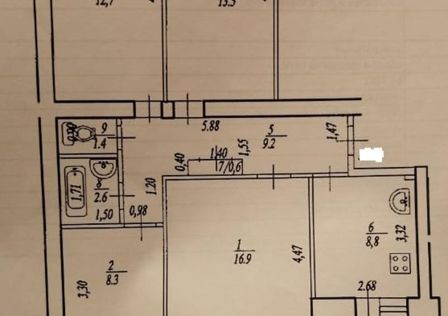 Продаётся 4-комнатная квартира, 83.5 м²