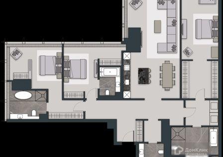 Продаётся 1-комнатная квартира, 83 м²