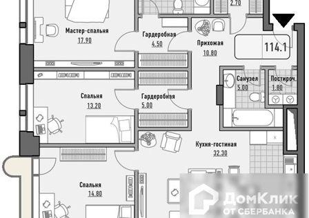 Продаётся 3-комнатная квартира, 114.1 м²