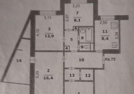 Продаётся 4-комнатная квартира, 76.6 м²