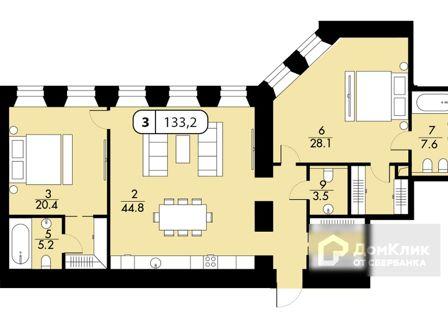 Продаётся 1-комнатная квартира, 224.4 м²