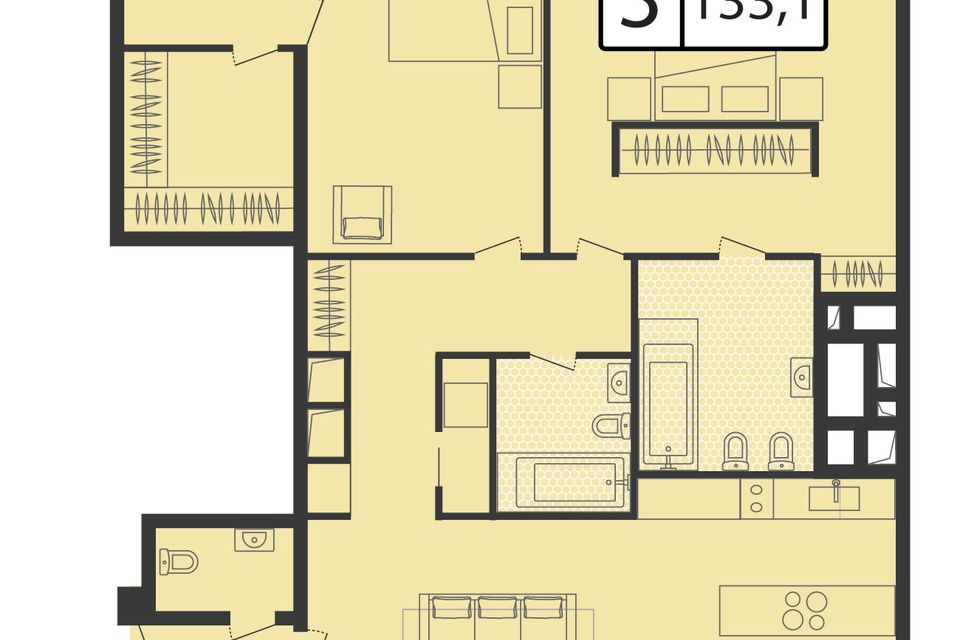 Продаётся 3-комнатная квартира, 133.1 м²