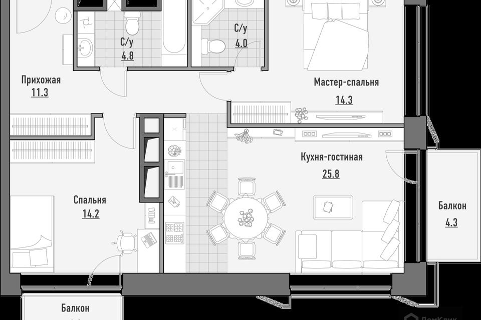 Продаётся 2-комнатная квартира, 76.97 м²
