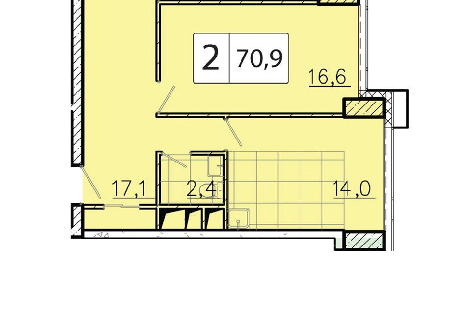 Продаётся 2-комнатная квартира, 71.2 м²