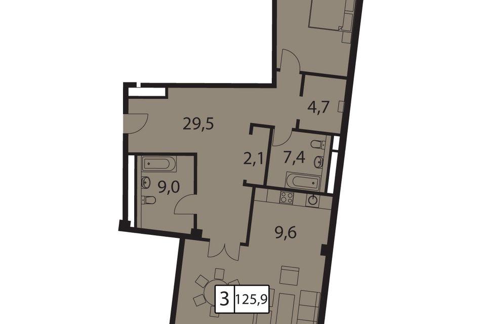Продаётся 3-комнатная квартира, 125.9 м²