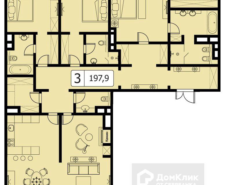 Продаётся 3-комнатная квартира, 197.9 м²