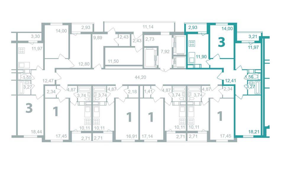 Продаётся 3-комнатная квартира, 76.37 м²